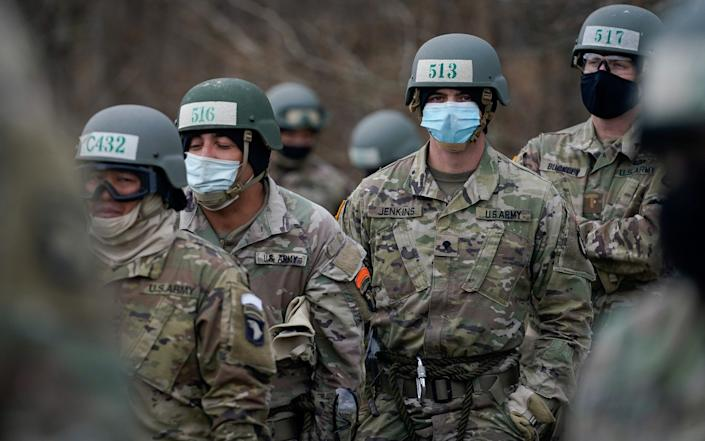 Soldiers at the U.S. Army Air Assault School conduct training while adhering to coronavirus recommendations, at Fort Campbell, Kentucky - Reuters