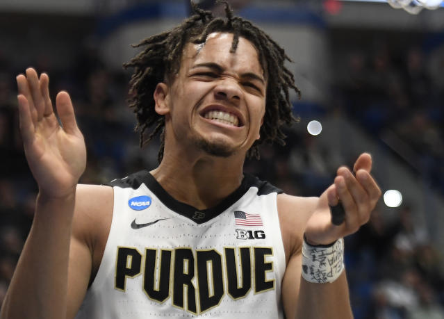 Purdue's Carsen Edwards reacts during the second half of a first round men's college basketball game against Old Dominion in the NCAA tournament, Thursday, March 21, 2019, in Hartford, Conn. (AP Photo/Jessica Hill)