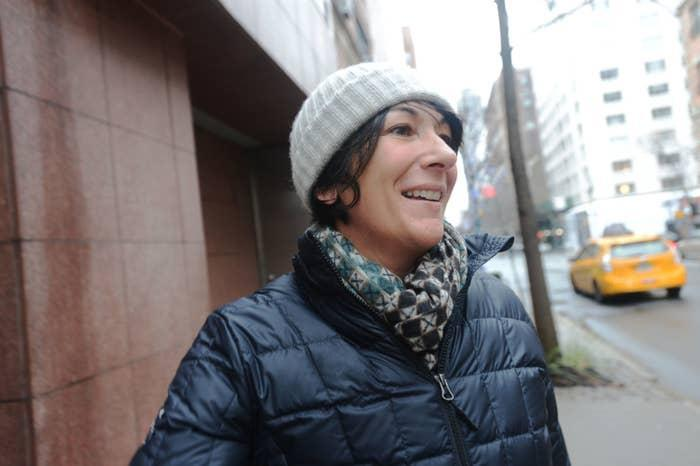 Ghislaine Maxwell walking out of her Manhattan townhouse in 2015