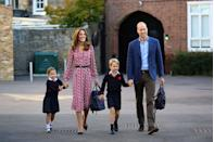 <p>The Duke and Duchess of Cambridge brought their children, Princess Charlotte and Prince George, to the first day of school at Thomas's Battersea in London in September 2019. The Duchess wore a pink, white, and navy daisy-printed dress with a belt and pointed toe flats. </p>