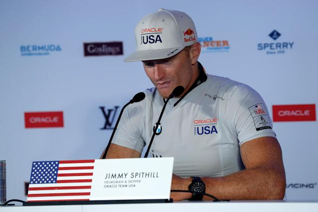 Sailing - America's Cup finals - Hamilton, Bermuda - June 26, 2017 - Oracle Team USA skipper Jimmy Spithill pauses at news conference after losing Americas Cup to Emirates Team New Zealand. REUTERS/Mike Segar