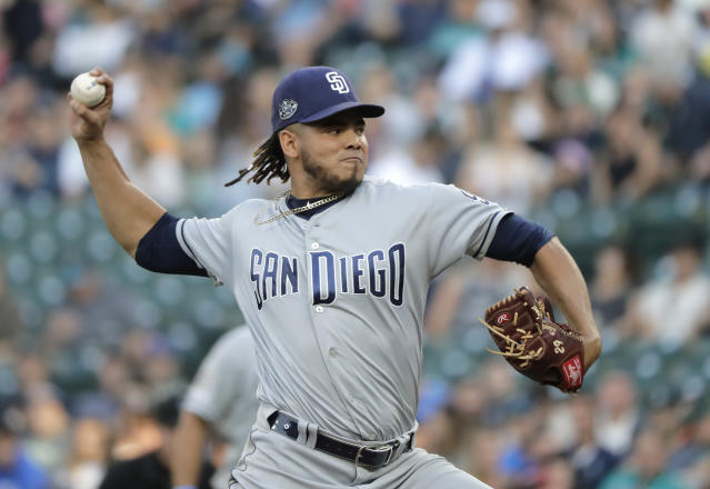 San Diego Padres starting pitcher Dinelson Lamet throws to a Seattle Mariners batter during the first inning of a baseball game Tuesday, Aug. 6, 2019, in Seattle. (AP Photo/Ted S. Warren)