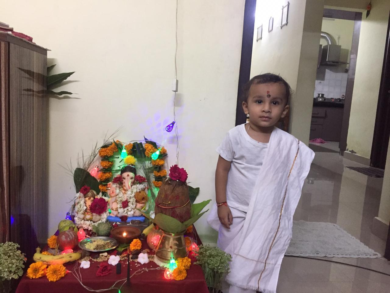 "Meera Rathod: ""This is the second year of Ganesh pooja with my 16-months-old Aadi. He is enjoying arrival of Ganesha and I love it."""