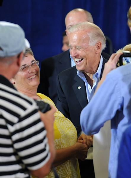 Vice President Joe Biden, meets supporters after a campaign stop at the Spiller Elementary School in Wytheville, Va., Tuesday, Aug. 14, 2012. Biden traveled to southern and southwestern Virginia to discuss the choice voters have in Virginia. A choice between two fundamental differences in visions of how to grow the economy, create middle-class jobs and pay down the debt. (AP Photo /Don Petersen)