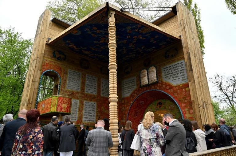 In May the Holocaust memorial centre unveiled a symbolic wooden synagogue (AFP/Sergei SUPINSKY)