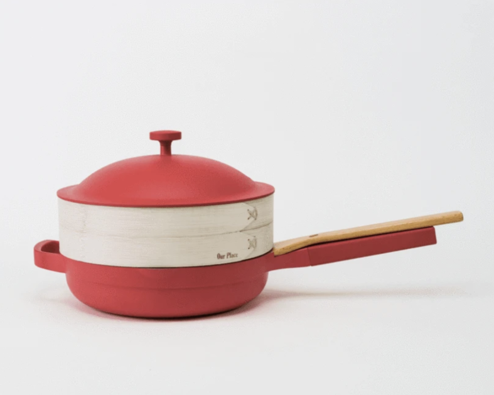 The Always Pan Red Hot Bundle - includes the Always Pan and Bamboo steamer and chopsticks - $245 CAD