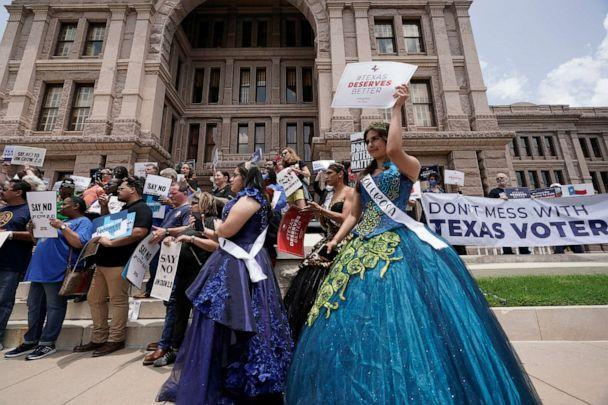 PHOTO: People rally to protest proposed voting bills on the steps of the Texas Capitol, July 13, 2021, in Austin, Texas. (Eric Gay/AP)