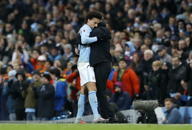 Pep Guardiola, right, insists there would be no hard feelings if Leroy Sane left Manchester City (Martin Rickett/PA)