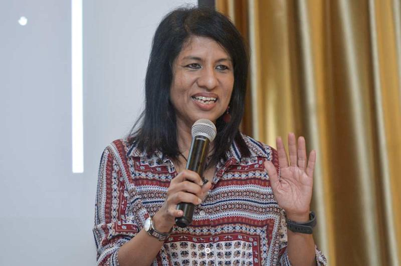 Cynthia Gabriel of the Centre to Combat Corruption and Croynism (C4) speaks during the Report Launch and Roundtable Discussion in Kuala Lumpur April 12, 2019. ― Picture by Mukhriz Hazim