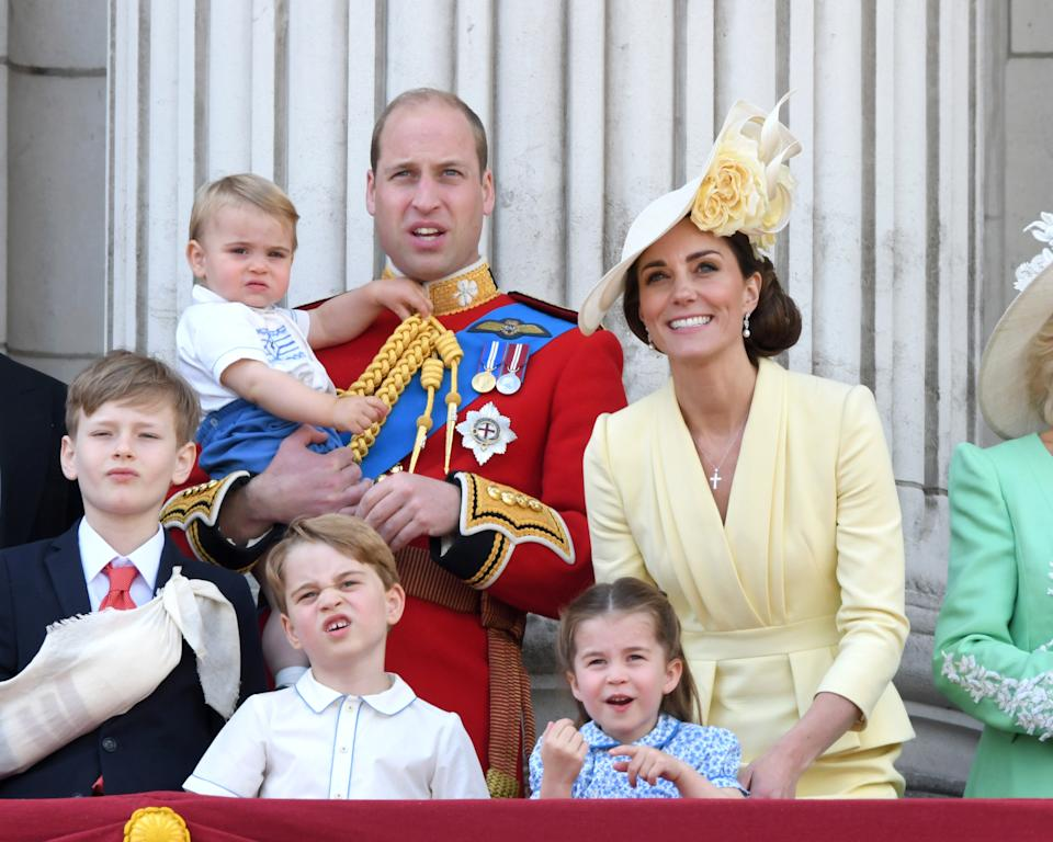 LONDON, ENGLAND - JUNE 08: Prince Louis, Prince George, Prince William, Duke of Cambridge, Princess Charlotte and Catherine, Duchess of Cambridge appear on the balcony during Trooping The Colour, the Queen's annual birthday parade, on June 08, 2019 in London, England. (Photo by Karwai Tang/WireImage)