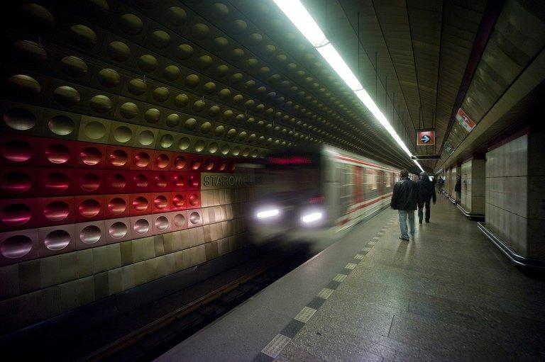 A subway train arrives at Staromestska station in Prague, Czech Republic on November 9, 2012