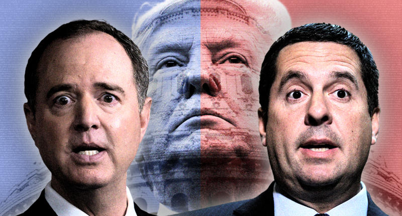 Adam Schiff, President Trump and Devin Nunes