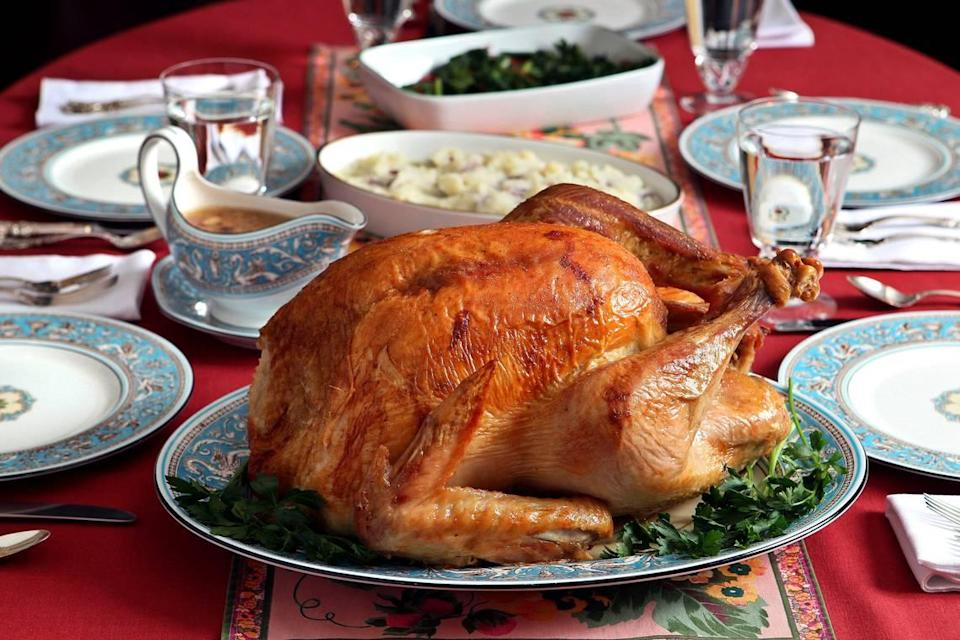 A 20-lb. dry-brined turkey was rubbed with salt and placed in a refrigerator for 2 days before being roasted at 450 degrees, then at 350 degrees, at 10 minutes per pound Oct. 30, 2014.