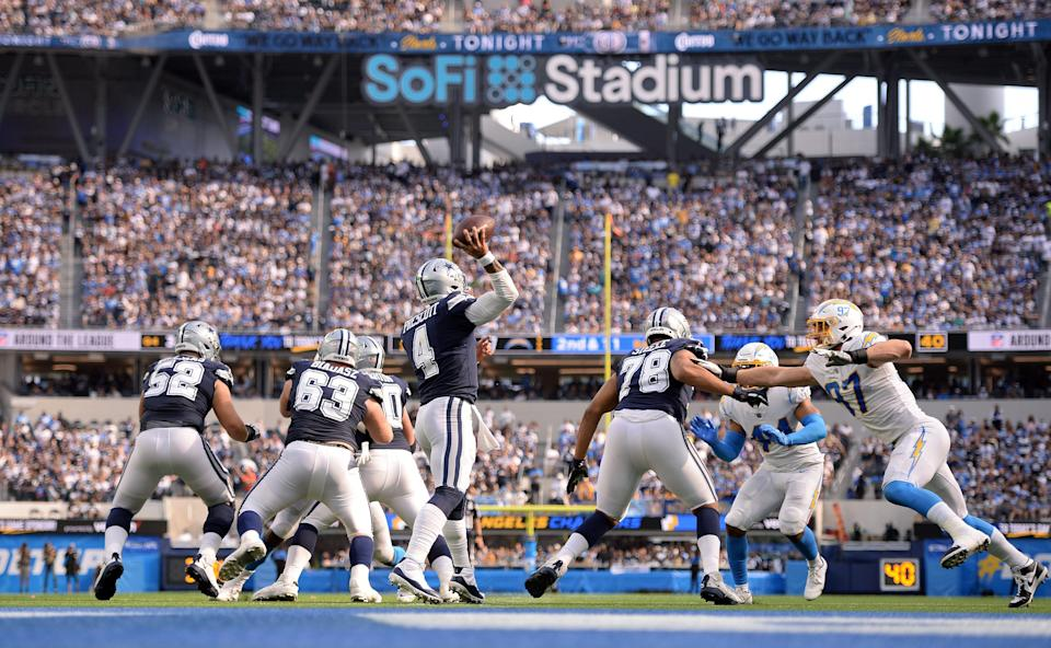 Dak Prescott throws a pass against the Los Angeles Chargers at SoFi Stadium.