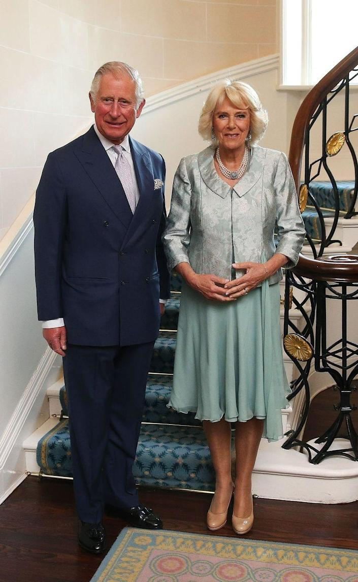 <p>During a visit to Northern Irelands, Camilla donned this pale teal dress and metallic floral jacket for a Music & Words for a Spring Evening at Hillsborough Castle. </p>