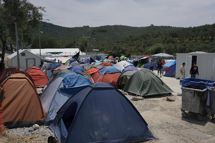 Tents are seen at the Moria detention camp for migrants and refugees on the Greek island of Lesbos (AFP Photo/)