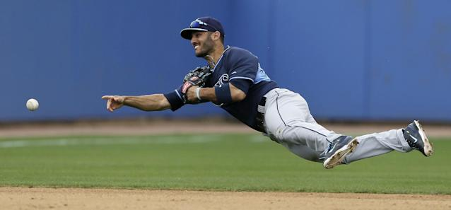 Tampa Bay Rays shortstop Sean Rodriguez throws to third base after fielding a ground ball by Toronto Blue Jays' Jose Bautista during the fifth inning of an exhibition baseball game Friday, March 7, 2014, in Dunedin, Fla. The runner was safe. (AP Photo/Charlie Neibergall)