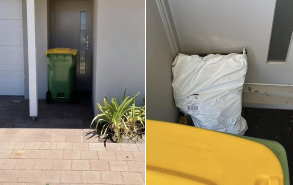 A recycling bin outside a home hides a package delivered to a woman in Western Australia.