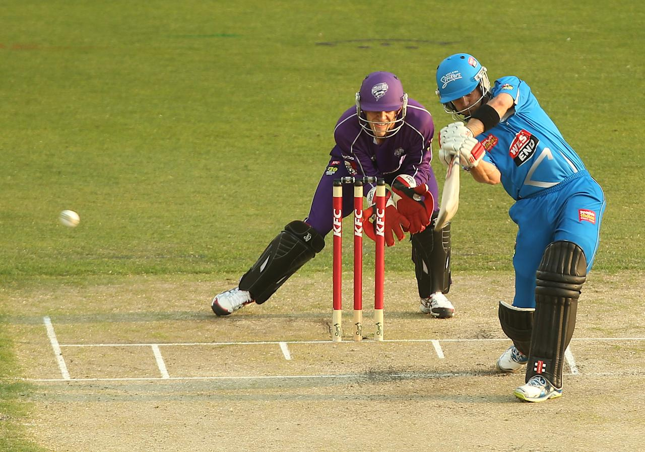 HOBART, AUSTRALIA - JANUARY 05:  Michael Klinger of the Strikers bats during the Big Bash League match between the Hobart Hurricanes and the Adelaide Strikers at Blundstone Arena on January 5, 2013 in Hobart, Australia.  (Photo by Mark Metcalfe/Getty Images)