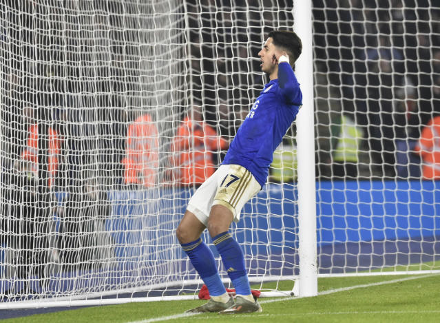 Leicester's Ayoze Perez celebrates after scoring his side's third goal during the English Premier League soccer match between Leicester City and West Ham Utd at the King Power Stadium in Leicester, England, Wednesday, Jan. 22, 2020. (AP Photo/Rui Vieira)