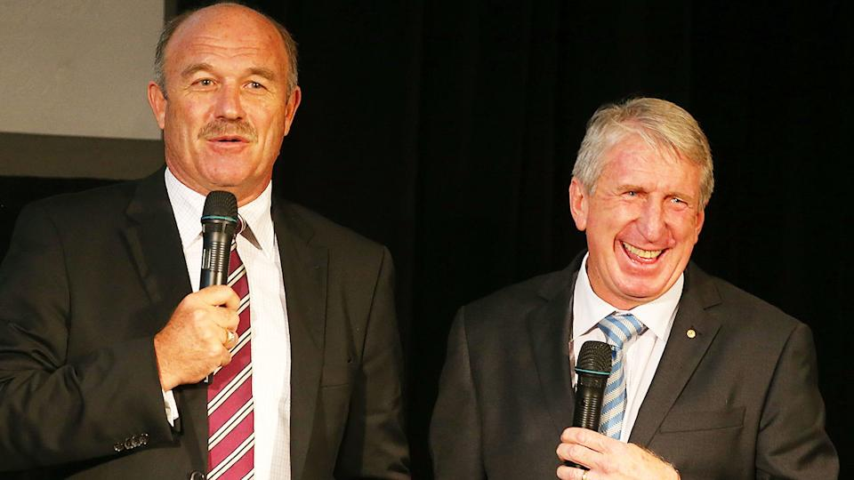 Rugby league great Steve Mortimer (right) is seen here with QLD legend Wally Lewis.