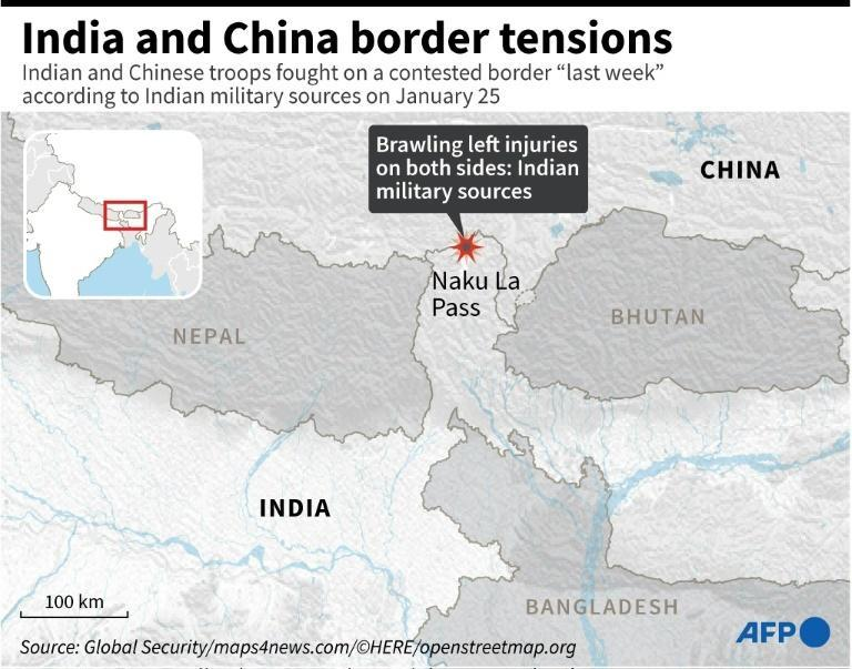 Map locating the area of a remote Himalayan region that was at the centre of border standoff between Chinese and Indian troops
