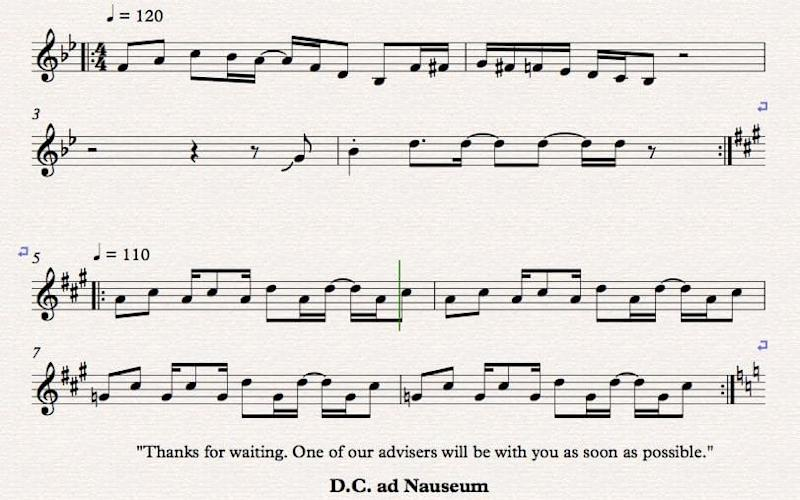 Musician Alan Drever-Smith transcribed HMRC's hold music during a 40-minute call to the government body - Facebook