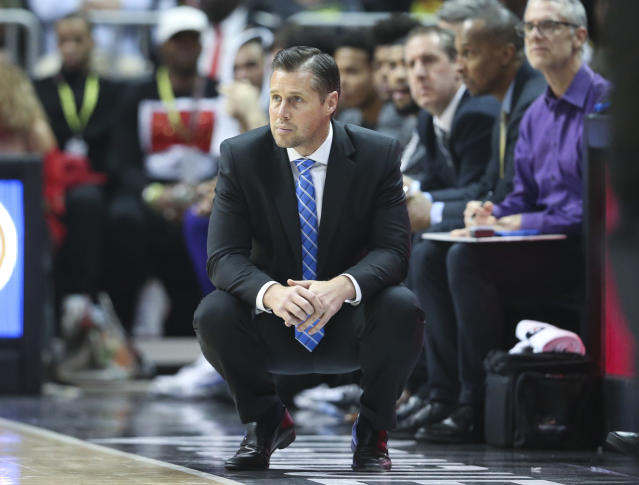 Sacramento Kings head coach David Joerger watches from the sidelines during the second half of an NBA basketball game against the Atlanta Hawks Wednesday, Nov. 15, 2017, in Atlanta. (AP Photo/John Bazemore)
