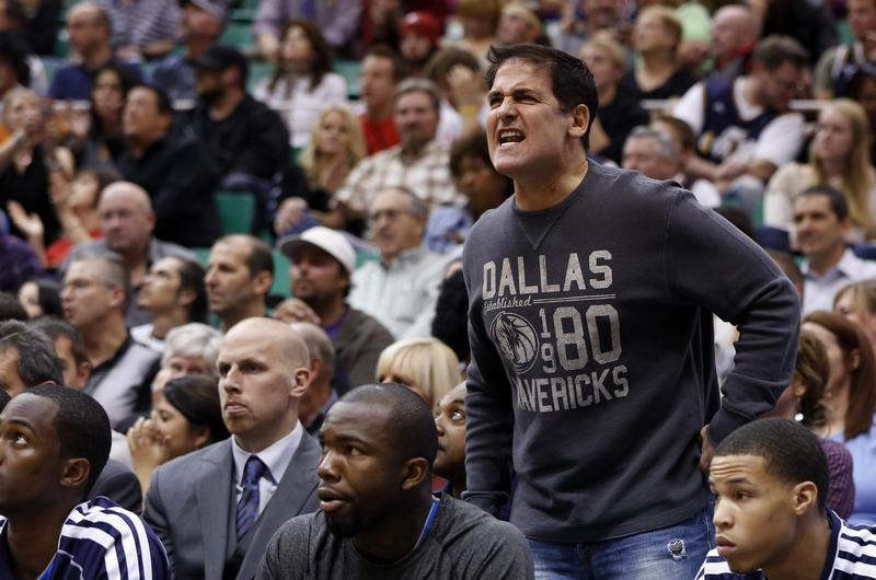 Mavericks owner Cuban argues a call during NBA basketball game against Utah Jazz in Salt Lake City