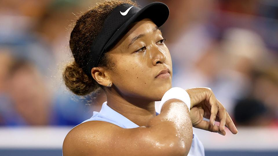 Pictured here, Naomi Osaka looks dejected at the Cincinnati Open.