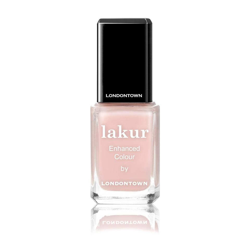 """Londontown has deemed its Lakur Enhanced Colour """"16+ free,"""" omitting nearly every imaginable unwanted ingredient. But that doesn't mean it has a barebones formula — the vegan concoction features the brand's florium complex, which includes a blend of natural oils and botanical extracts to strengthen and nourish nails."""