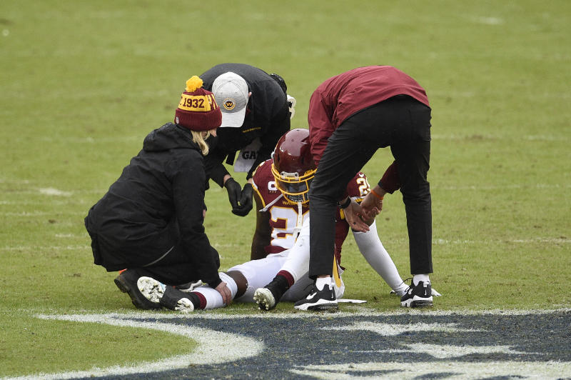 Landon Collins of the Washington Football Team is one of an unusually high number of players who have suffered Achilles injuries in 2020. (Photo by Patrick McDermott/Getty Images)