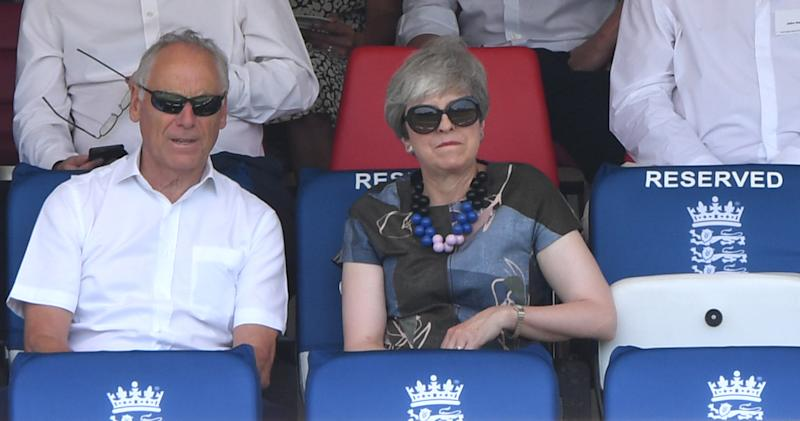 LONDON, ENGLAND - JULY 25: ECB chairman Colin Graves sits next to Former Prime Minister Theresa May as they watch play during day two of the Specsavers Test Match between England and Ireland at Lord's Cricket Ground on July 25, 2019 in London, England. (Photo by Stu Forster/Getty Images)