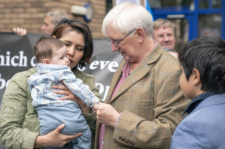 Mr Murray said goodbye to his wife Nadira and five-month-old son Oscar before handing himself in to police (Jane Barlow/PA) (PA Wire)