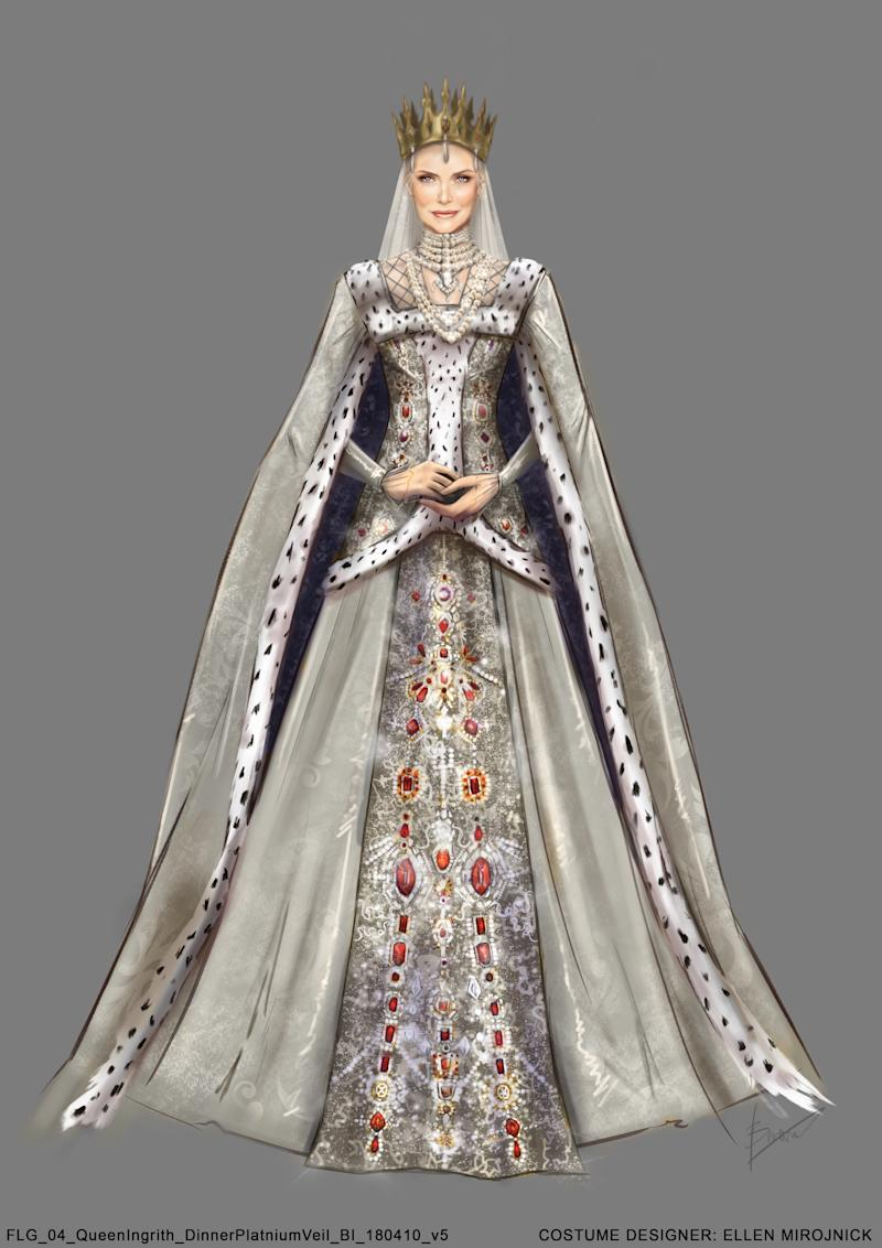 A sketch of the costume designs for Queen Ingrith's royal wardrobe (Photo: Disney)