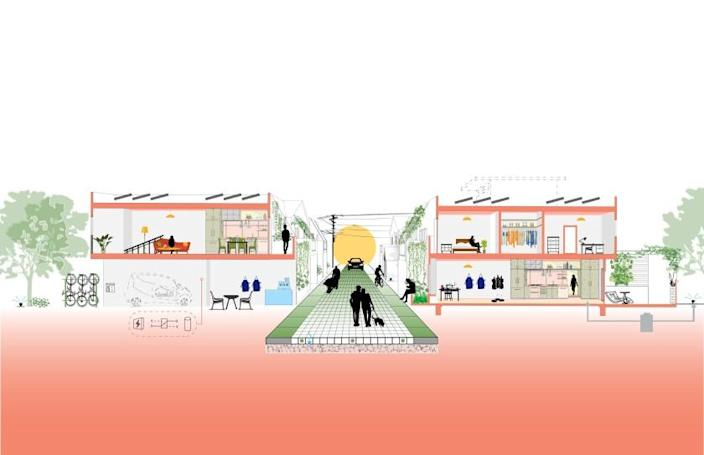 A digital drawing shows a cross-section of an alley way surrounded by low-rise housing and work spaces.