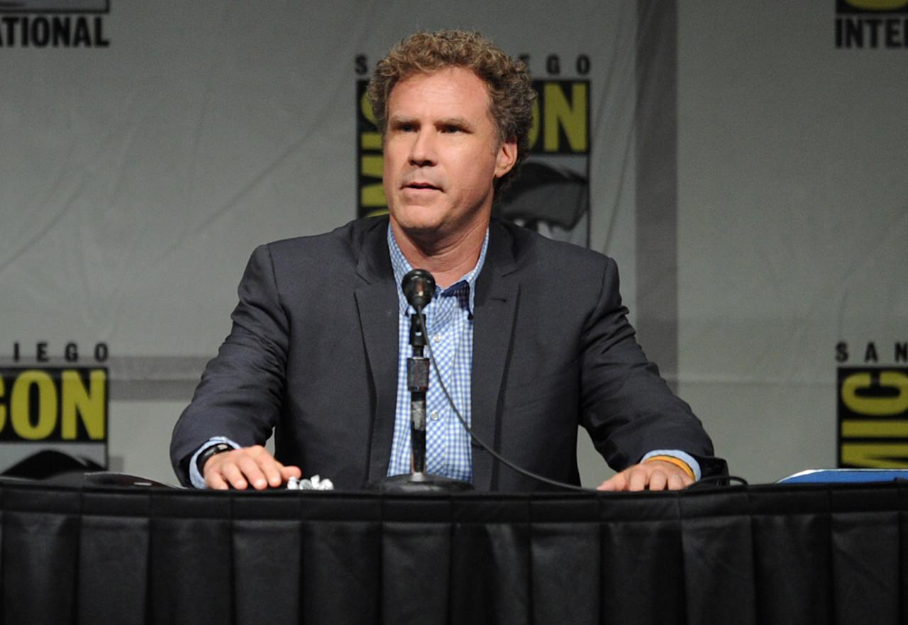 "SAN DIEGO, CA - JULY 14:  Actor Will Ferrell speaks at Warner Bros. Pictures and Legendary Pictures Preview of ""The Campaign"" during Comic-Con International 2012 at San Diego Convention Center on July 14, 2012 in San Diego, California.  (Photo by Kevin Winter/Getty Images)"