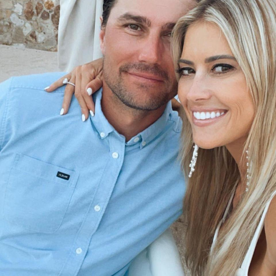"""<p>The <em>Christina on the Coast</em> star <a href=""""https://people.com/home/christina-haack-engaged-to-joshua-hall/"""" rel=""""nofollow noopener"""" target=""""_blank"""" data-ylk=""""slk:is engaged to her boyfriend"""" class=""""link rapid-noclick-resp"""">is engaged to her boyfriend</a> of several months, she confirmed on Instagram on Sept. 20. Haack shared a <a href=""""https://www.instagram.com/p/CUDJ-NQJNvk/"""" rel=""""nofollow noopener"""" target=""""_blank"""" data-ylk=""""slk:trio of photos"""" class=""""link rapid-noclick-resp"""">trio of photos</a>, one of which showed off her stunning engagement ring, </p>"""