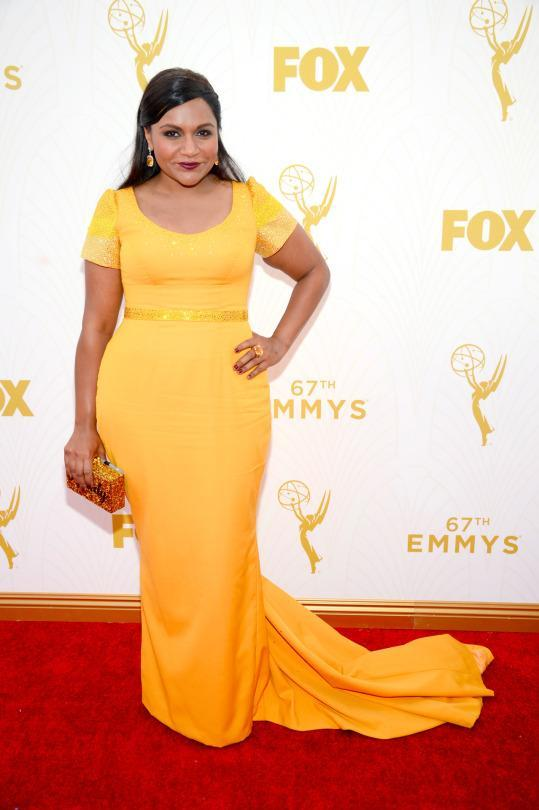 """<p>Mindy Kaling has found her color. Silhouette on the other hand? Not so much. The """"Mindy Project"""" actress was golden in one sense, but drab on the other. </p>"""