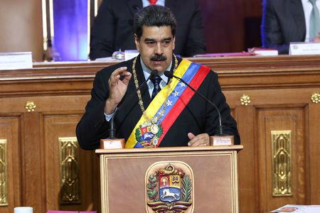 Venezuela's President Nicolas Maduro speaks during a special session of the National Constituent Assembly to present his annual state of the nation in Caracas
