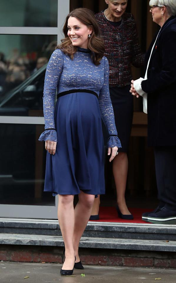 <p>On March 7th, the Duchess of Cambridge opened the new Place2B Headquarters in London in one of her favourite maternity looks.<br />The royal dressed her bump in a £165 lace dress by Seraphine which she first donned while dining with the Norwegian royals during the Duke and Duchess of Cambridge's Scandinavian tour. <em>[Photo: Getty]</em> </p>