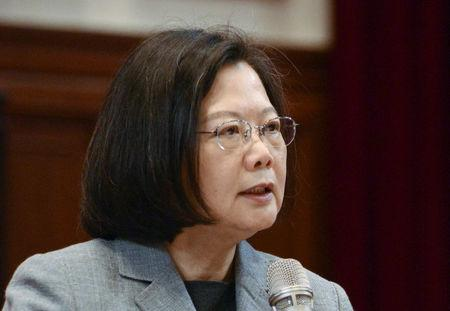 Taiwan's President Tsai Ing-wen speaks during the news conference in Taipei