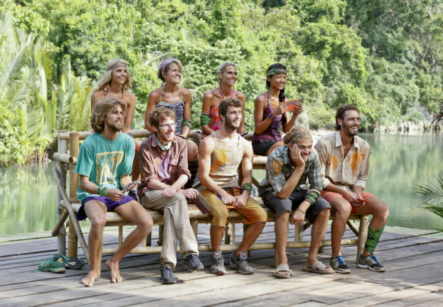 """Come Over to the Dark Side"" - The tribe sits together before the start of the food auction during the Eleventh episode of ""Survivor: Caramoan - Fans vs. Favorites."""