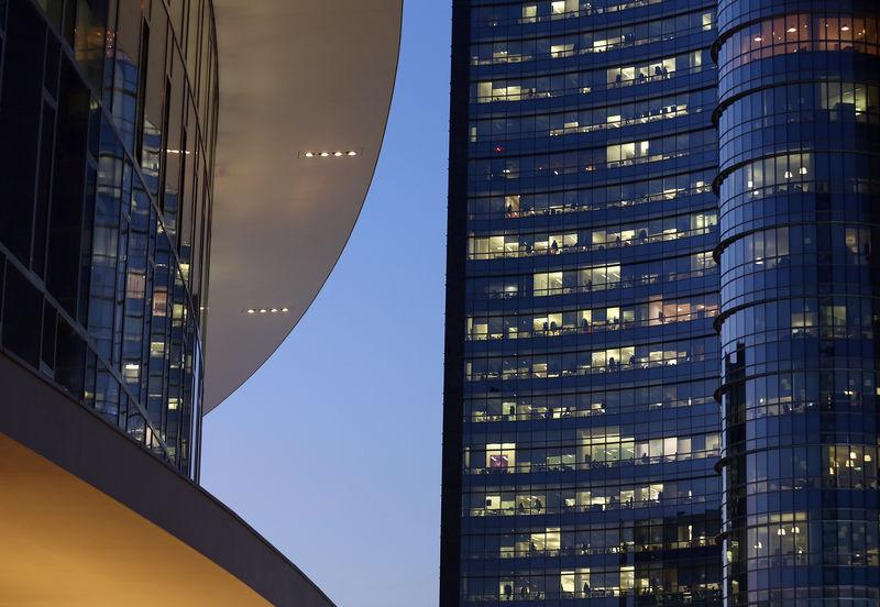 Offices are seen at the Gae Aulenti square at Porta Nuova district downtown Milan