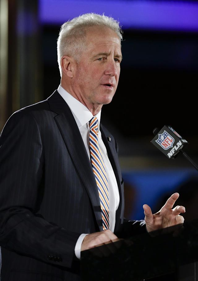 Denver Broncos head coach John Fox talks with reporters during a news conference Sunday, Jan. 26, 2014, in Jersey City, N.J. The Broncos are scheduled to play the Seattle Seahawks in the NFL Super Bowl XLVIII football game Sunday, Feb. 2, in East Rutherford, N.J. (AP Photo/Mark Humphrey)