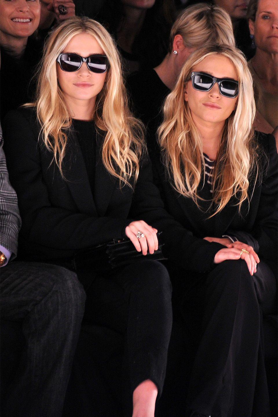 """<p>It takes two to go as fashion's favorite twins. All you need are some oversized clothes (preferably in black), black sunglasses, and Starbucks cups in hand. </p><p><strong>Get the look: Loewe</strong> butterfly anagram titted sunglasses shiny black, $330, <a href=""""https://go.redirectingat.com?id=74968X1596630&url=https%3A%2F%2Fshop.harpersbazaar.com%2Fdesigners%2Floewe%2Fbutterfly-anagram-fitted-sunglasses-shiny-black-68484.html&sref=https%3A%2F%2Fwww.harpersbazaar.com%2Ffashion%2Ftrends%2Fg2339%2Ffashionable-halloween-costume-ideas%2F"""" rel=""""nofollow noopener"""" target=""""_blank"""" data-ylk=""""slk:shopbazaar.com"""" class=""""link rapid-noclick-resp"""">shopbazaar.com</a>. </p><p><a class=""""link rapid-noclick-resp"""" href=""""https://go.redirectingat.com?id=74968X1596630&url=https%3A%2F%2Fshop.harpersbazaar.com%2Fdesigners%2Floewe%2Fbutterfly-anagram-fitted-sunglasses-shiny-black-68484.html&sref=https%3A%2F%2Fwww.harpersbazaar.com%2Ffashion%2Ftrends%2Fg2339%2Ffashionable-halloween-costume-ideas%2F"""" rel=""""nofollow noopener"""" target=""""_blank"""" data-ylk=""""slk:SHOP"""">SHOP</a> </p>"""