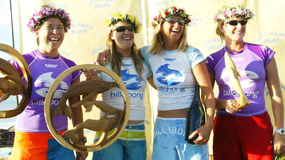 Pauline Menczer, pictured here with Jacqueline Silva, Layne Beachley and Heather Clark after the Billabong Pro in 2002.