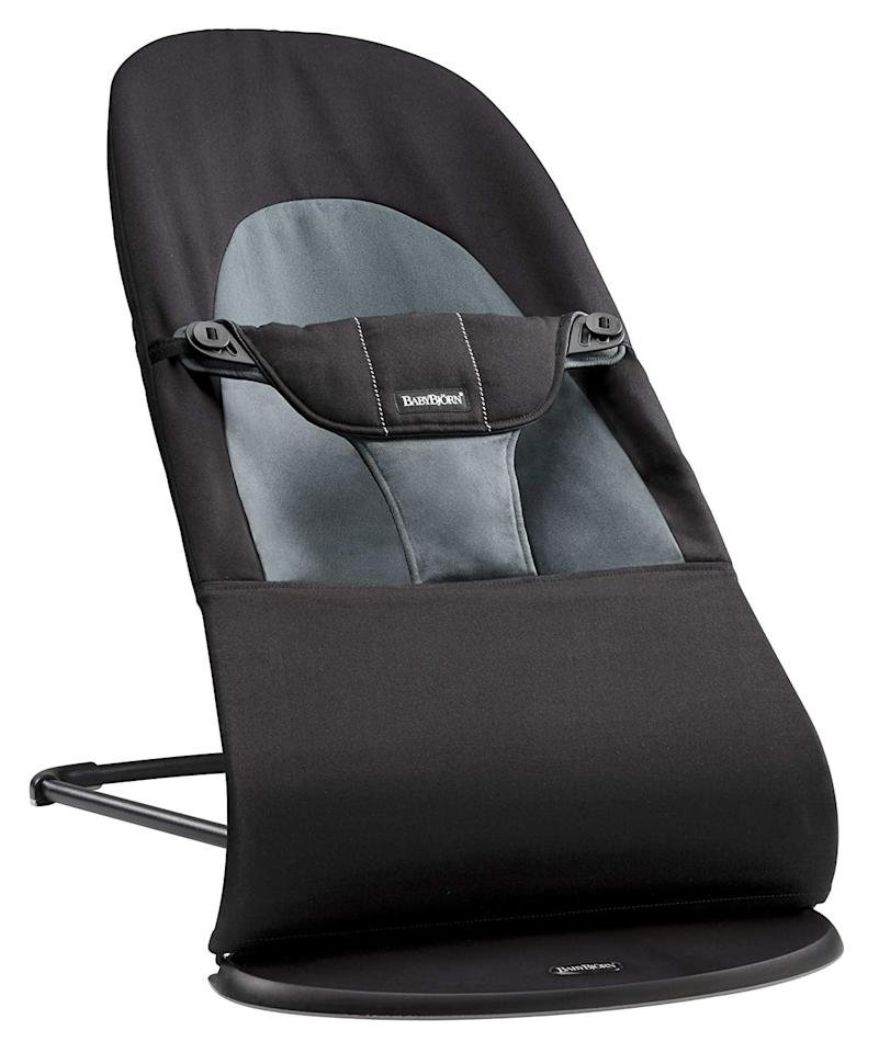 """<p>The <a href=""""https://www.popsugar.com/buy/Baby-Bjorn-Bouncer-Balance-Soft-400652?p_name=Baby%20Bjorn%20Bouncer%20Balance%20Soft&retailer=amazon.com&pid=400652&price=198&evar1=moms%3Aus&evar9=45701037&evar98=https%3A%2F%2Fwww.popsugar.com%2Ffamily%2Fphoto-gallery%2F45701037%2Fimage%2F46981408%2FBaby-Bjorn-Bouncer-Balance-Soft&list1=graco%2Cbaby%20showers%2Cfisher-price%2Cnew%20mom%2Cbaby%20shower%20gifts%2Ckid%20shopping%2Cbaby%20shopping%2Cbest%20of%202019%2C4moms&prop13=mobile&pdata=1"""" rel=""""nofollow"""" data-shoppable-link=""""1"""" target=""""_blank"""" class=""""ga-track"""" data-ga-category=""""Related"""" data-ga-label=""""https://www.amazon.com/BABYBJORN-Bouncer-Balance-Soft-Cotton/dp/B00BQYVOKY/ref=sr_1_1_s_it?s=baby-products&amp;ie=UTF8&amp;qid=1545074741&amp;sr=1-1-spons&amp;keywords=baby%2Bbjorn%2Bbouncer&amp;th=1"""" data-ga-action=""""In-Line Links"""">Baby Bjorn Bouncer Balance Soft</a> ($198) is a family favorite for a number of reasons. It's ergonomic design means baby's hips are always in the correct place, and it has three angles so baby can be near-flat against the ground or up at angle to watch and see what their parents are doing.</p>"""