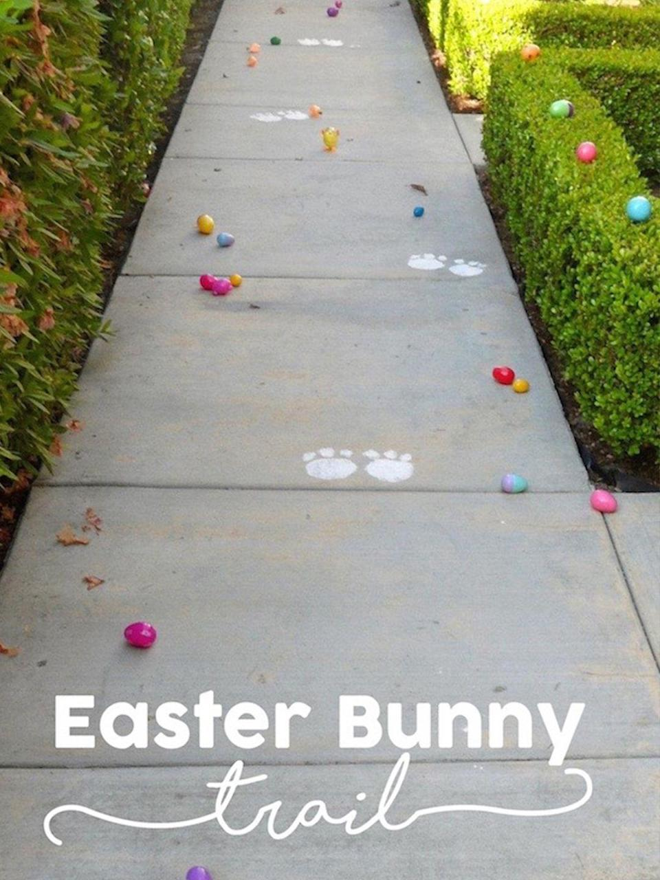 "<p>Send your little chicks following in the Easter Bunny's footsteps with this simple and adorable DIY project. </p><p><a href=""https://www.smartschoolhouse.com/diy-crafts/easter-bunny-trail/2"" rel=""nofollow noopener"" target=""_blank"" data-ylk=""slk:Get the tutorial at Smart School House »"" class=""link rapid-noclick-resp""><em>Get the tutorial at Smart School House »</em></a></p>"