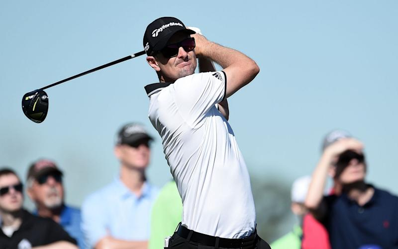 Justin Rose in action at the Houston Open on Friday - Getty Images North America